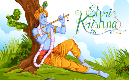 worship: illustration of Lord Krishana in Happy Janmashtami