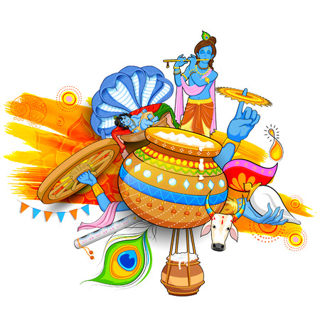 lord krishna: illustration of Lord Krishana in Happy Janmashtami