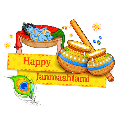 religious backgrounds: illustration of Lord Krishana in Happy Janmashtami