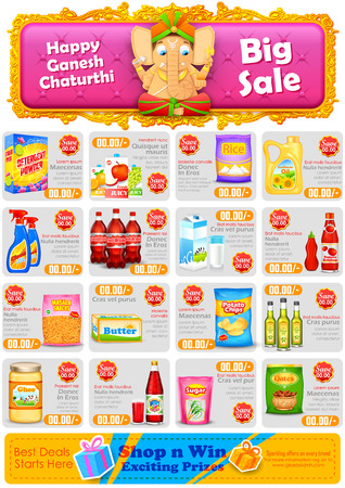 indian food: illustration of Happy Ganesh Chaturthi sale offer Illustration
