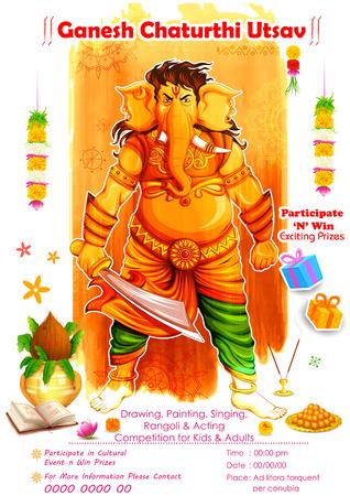 ganesh: ilustraci�n de Ganesh Chaturthi bandera competencia evento