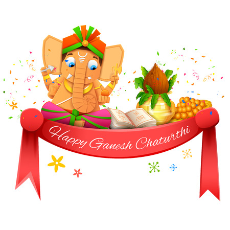 worship: illustration of Happy Ganesh Chaturthi
