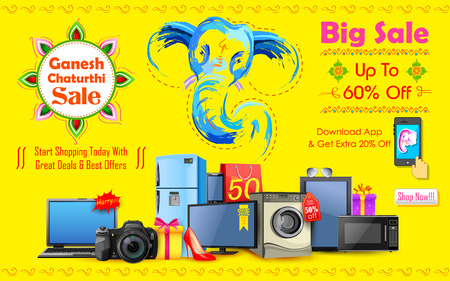 worship: illustration of Happy Ganesh Chaturthi sale offer Illustration
