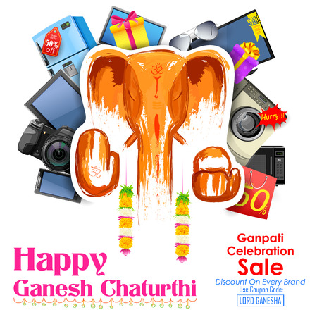 ganesha: illustration of Happy Ganesh Chaturthi sale offer Illustration