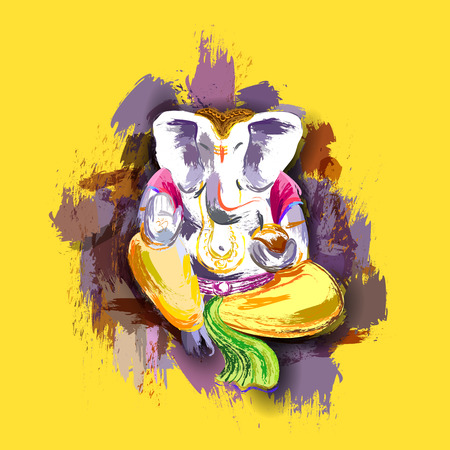 ganpati: illustration of Lord Ganesha in paint style with message Shri Ganeshaye Namah ( Prayer to Lord Ganesha)