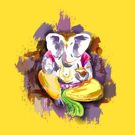 lord ganesha: ilustraci�n de Ganesha en el estilo de la pintura con el mensaje de Shri Ganeshaye Namah (Oraci�n al Se�or Ganesha) Vectores