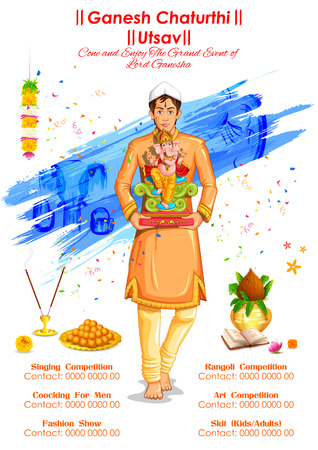 ganesha: illustration of Ganesh Chaturthi event competition banner Illustration
