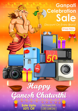 god: illustration of Happy Ganesh Chaturthi sale offer Illustration