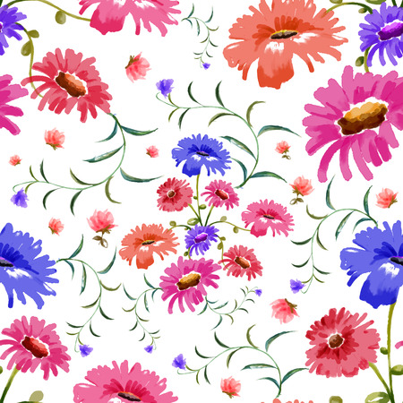 victorian pattern: illustration of watercolor floral seamless pattern Illustration