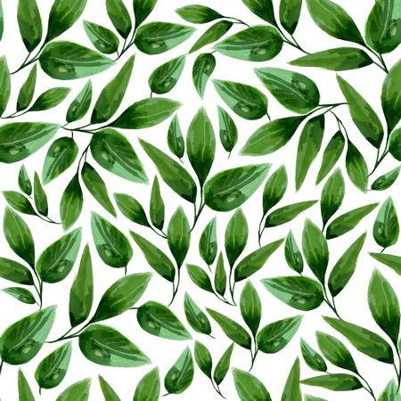 Ilustracja akwarela kwiatowy wzór bez szwu liści
