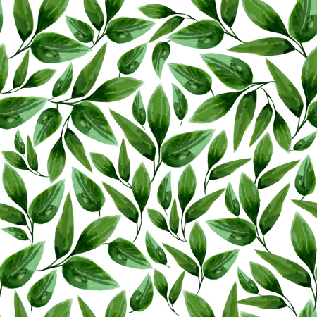 illustration of watercolor floral leaf seamless pattern