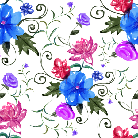 seamless floral: illustration of watercolor floral seamless pattern Illustration