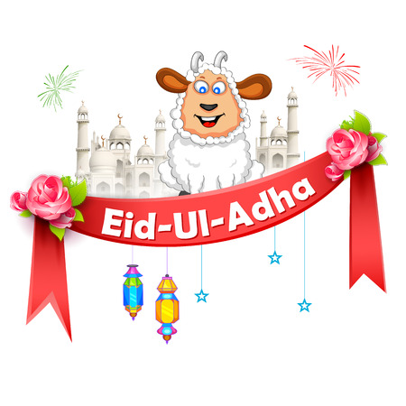 illustration of sheep wishing Eid ul Adha, Happy Bakra Id
