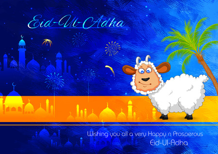 ul: illustration of sheep wishing Eid ul Adha, Happy Bakra Id