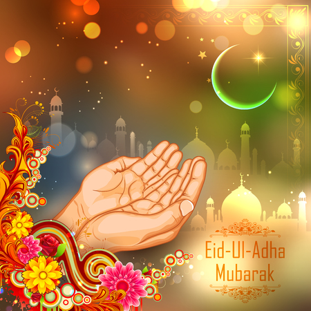 illustration of pair of hand praying for Eid ul Adha, Happy Bakra Id background with mosque Vettoriali