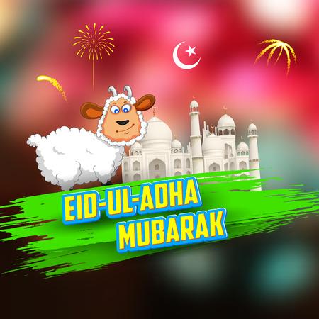 pecora: illustrazione di pecore che desiderano Eid ul Adha, Felice Bakra Id