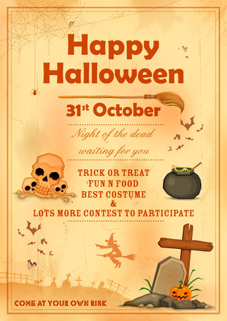 invitation background: illustration of poster design for Happy Halloween party