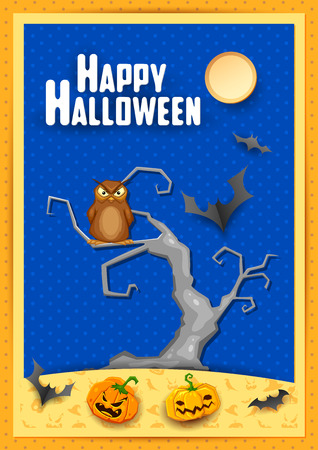 scary halloween: illustration of owl sitting on tree in scary Halloween night