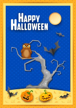 greeting card invitation: illustration of owl sitting on tree in scary Halloween night
