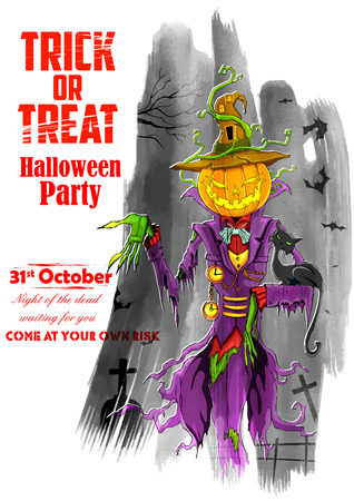 halloween ghost: illustration of Halloween ghost with pumpkin head for party poster