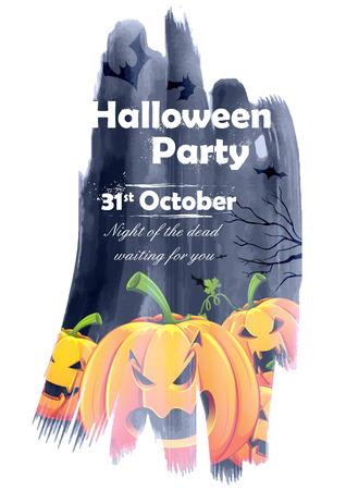holiday invitation: illustration of jack-o-lantern pumpkin in Halloween night