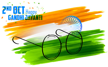 illustration of spectacles on India background for Gandhi Jayanti 向量圖像