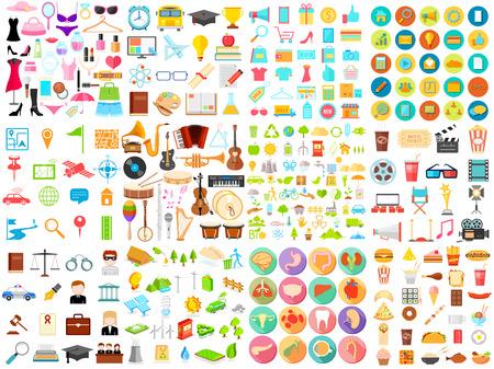 Ilustración del icono de la colección Jumbo plana de eductaion, medicina, música, comida, belleza, compras, negocios y environmet Foto de archivo - 45957078