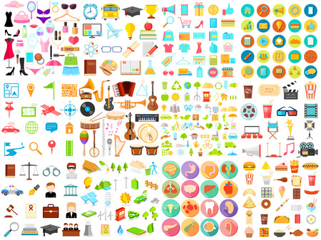 illustration of flat icon jumbo collection of eductaion,medical,music,food,beauty,shopping, business and environmet