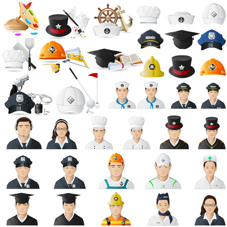 female cop: illustration of icon set for different professions jumbo collection