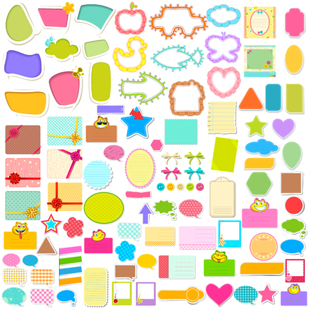 scrapbook frames illustration of scrapbook element and chat bubble jumbo collection illustration