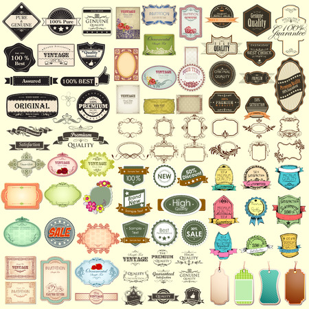 with sets of elements: illustration of vintage selling badge for premium quality jumbo collection