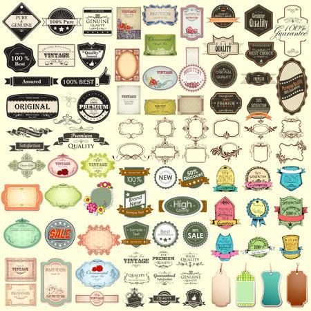 elements: ilustración de la insignia de venta de la vendimia para la colección enorme de primera calidad
