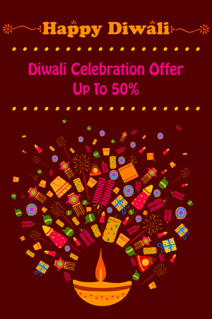 diwali celebration: Happy Diwali discount sale promotion offer banner in vector