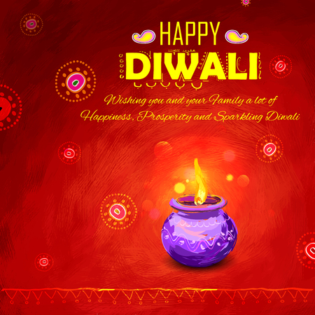 diwali: illustration of Happy Diwali background colorful watercolor diya