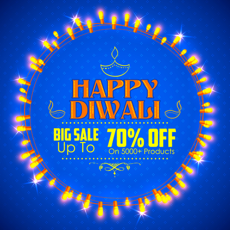 worship: illustration of Happy Diwali promotion and advertisement background decorated with light garland arrangement Illustration