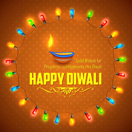 diwali: illustration of Happy Diwali background decorated with light garland arrangement