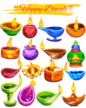 holiday invitation: illustration of Happy Diwali background colorful watercolor diya