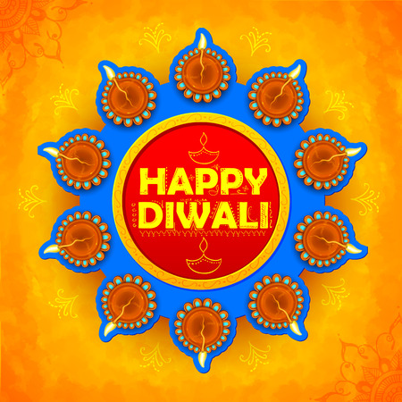 diwali: illustration of Happy Diwali background colorful watercolor diya