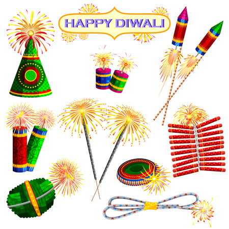 diwali: illustration of set of colorful firecracker for Diwali holiday fun