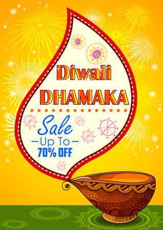 diwali: illustration of Happy Diwali promotion background with diya