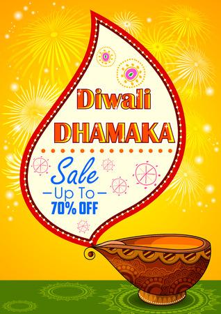 worship: illustration of Happy Diwali promotion background with diya