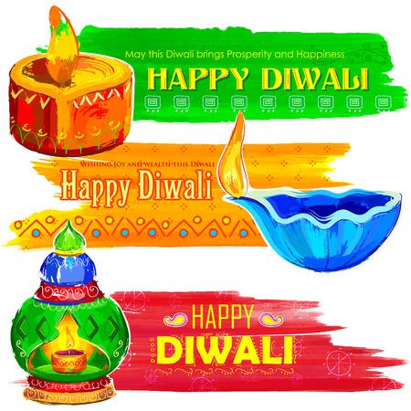 dipawali: illustration of Happy Diwali banner colorful watercolor diya