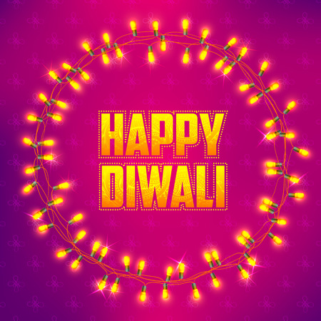 an oil lamp: ilustración de Diwali feliz fondo decorado con arreglo guirnalda de luz