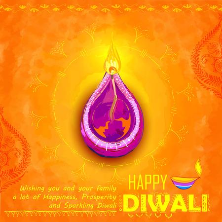 wish: illustration of Happy Diwali background colorful watercolor diya