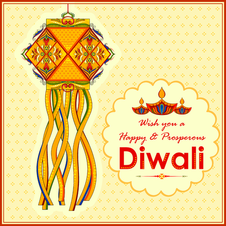 background card: illustration of hanging kandil lamp and diya for Diwali decoration Illustration