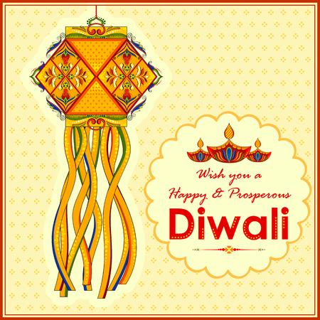 fondo para tarjetas: ilustración de lámpara colgante Kandil y diya para la decoración de Diwali