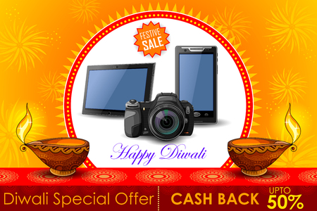diwali greeting: illustration of Festive Shopping Offer for Diwali holiday promotion and advertisment