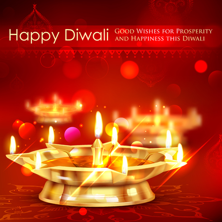 holiday invitation: illustration of golden diya stand on abstract Diwali background