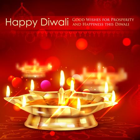 tarjeta de invitacion: ilustraci�n de soporte diya de oro sobre fondo abstracto de Diwali Vectores