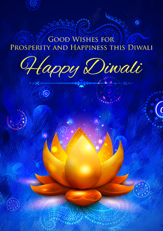 diwali: illustration of golden lotus shaped diya on abstract Diwali background Illustration